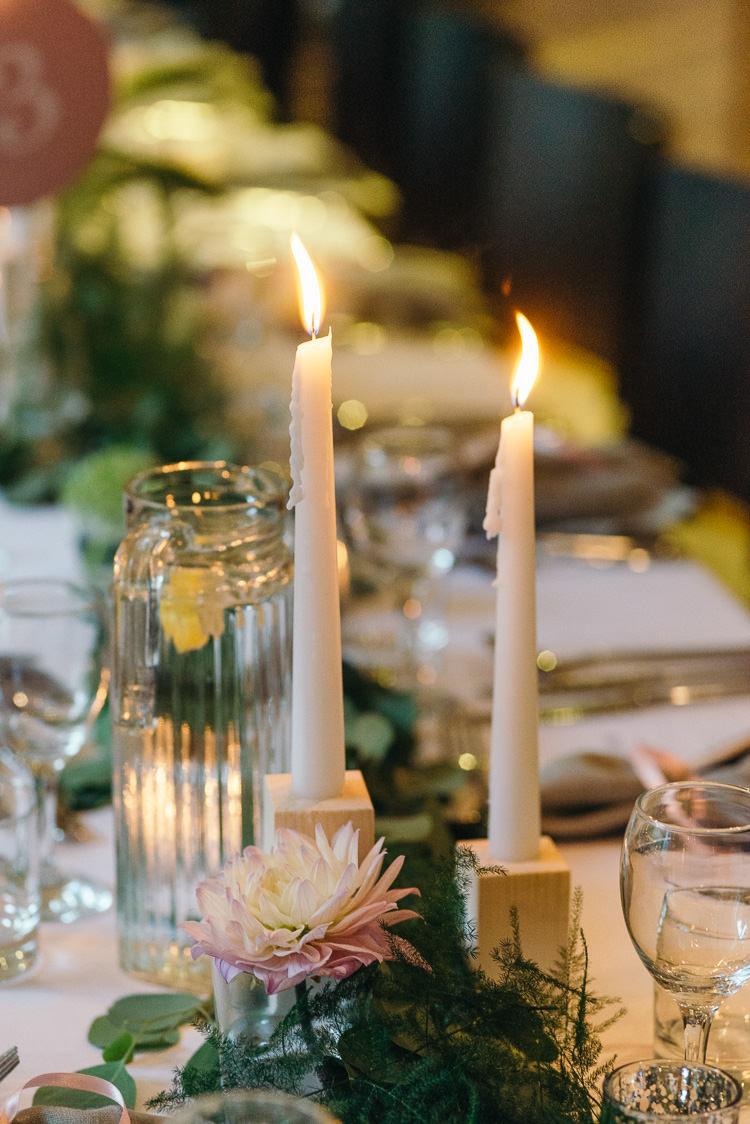 Candles Decor Tables Modern Natural Pink Metallic Wedding http://photosbyzoe.co.uk/