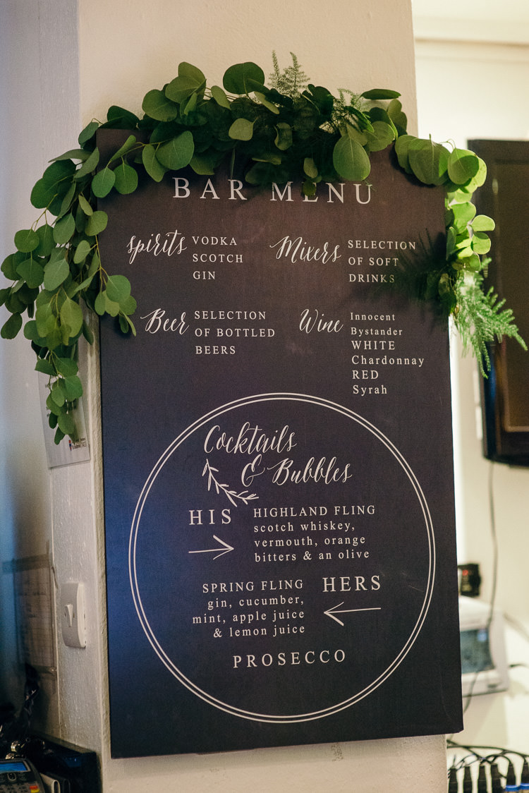 Sign Black Board Greenery Modern Natural Pink Metallic Wedding http://photosbyzoe.co.uk/
