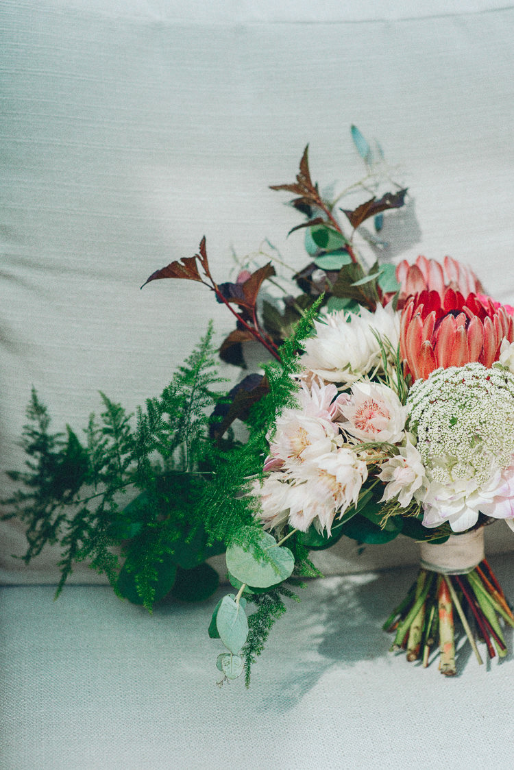 Whimsical Protea Eucalyptus Thistle Bouquet Flowers Bride Bridal Modern Natural Pink Metallic Wedding http://photosbyzoe.co.uk/