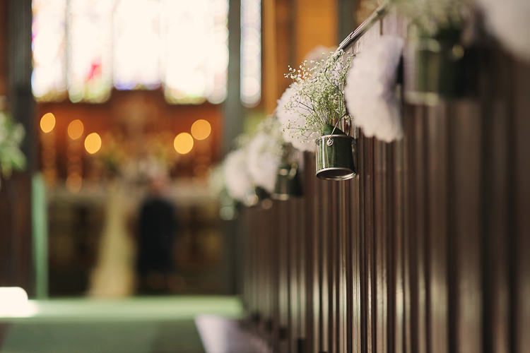 Bucket Pew End Flowers Stylish Pastel Rustic Barn Wedding http://helenrussellphotography.co.uk/