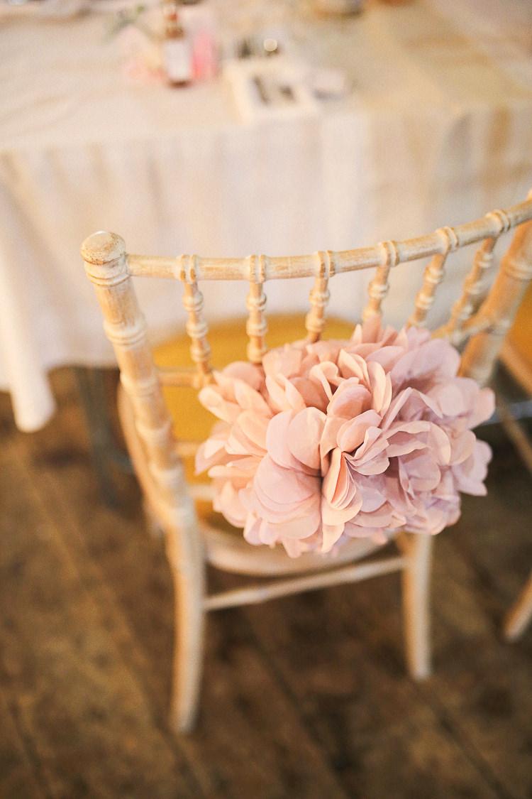 Pom Pom Chairs Stylish Pastel Rustic Barn Wedding http://helenrussellphotography.co.uk/
