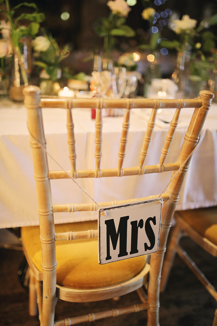 Mrs Chair Sign Stylish Pastel Rustic Barn Wedding http://helenrussellphotography.co.uk/