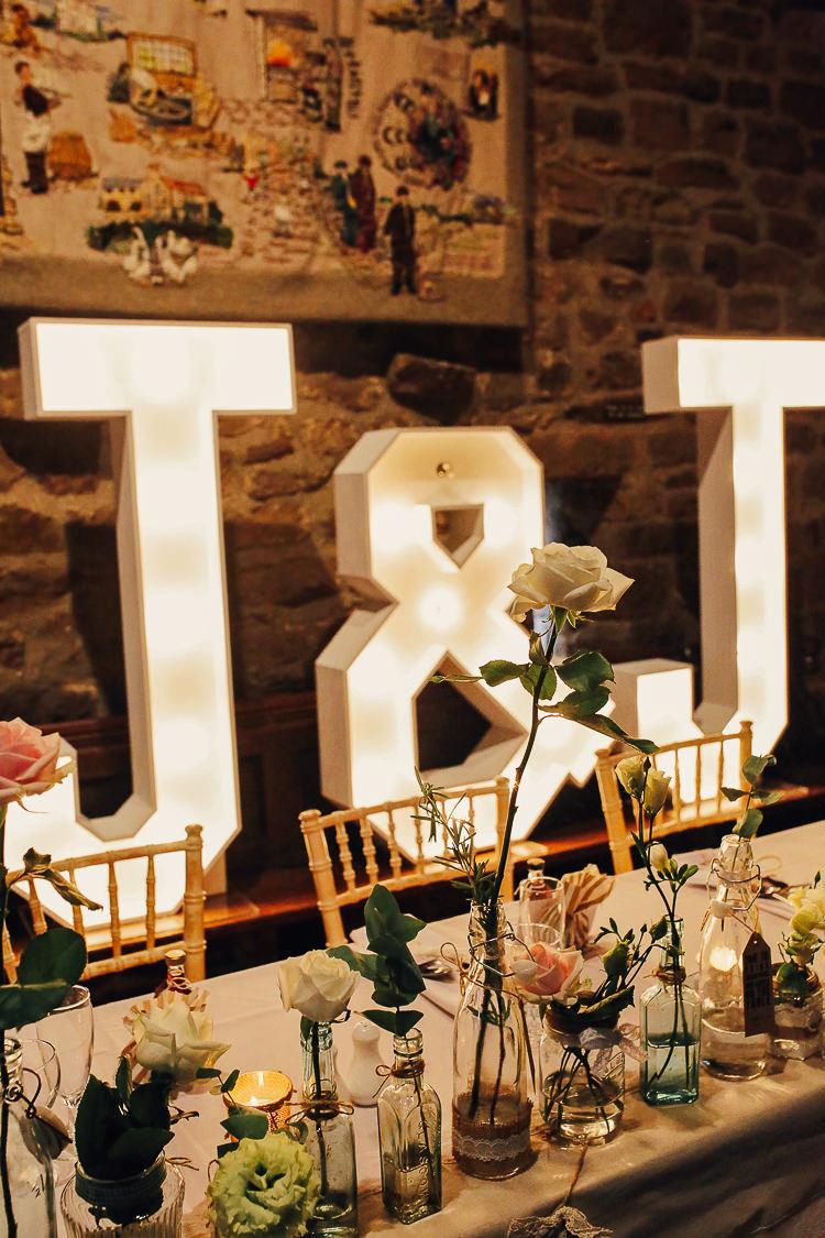 Letter Lights Stylish Pastel Rustic Barn Wedding http://helenrussellphotography.co.uk/