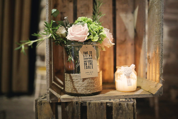 Luggage Tag Twine Flowers Stylish Pastel Rustic Barn Wedding http://helenrussellphotography.co.uk/