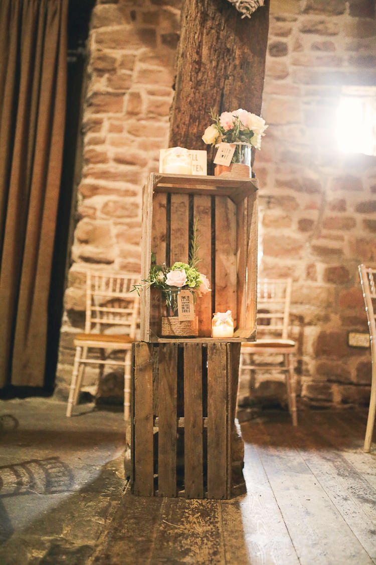 Crate Flowers Stylish Pastel Rustic Barn Wedding http://helenrussellphotography.co.uk/