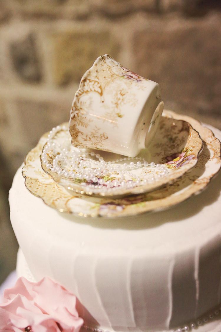 Tea Cup Cake Stylish Pastel Rustic Barn Wedding http://helenrussellphotography.co.uk/