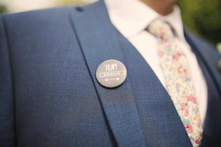 Team Groom Badge Stylish Pastel Rustic Barn Wedding http://helenrussellphotography.co.uk/