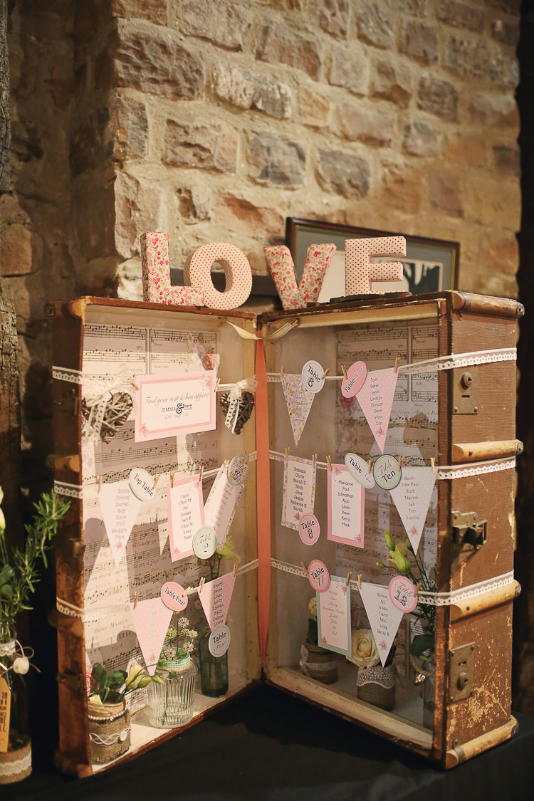 Suitcase Table Plan Seating Chart Stylish Pastel Rustic Barn Wedding http://helenrussellphotography.co.uk/