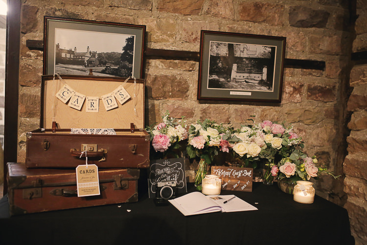 Card Suitcase Table Stylish Pastel Rustic Barn Wedding http://helenrussellphotography.co.uk/