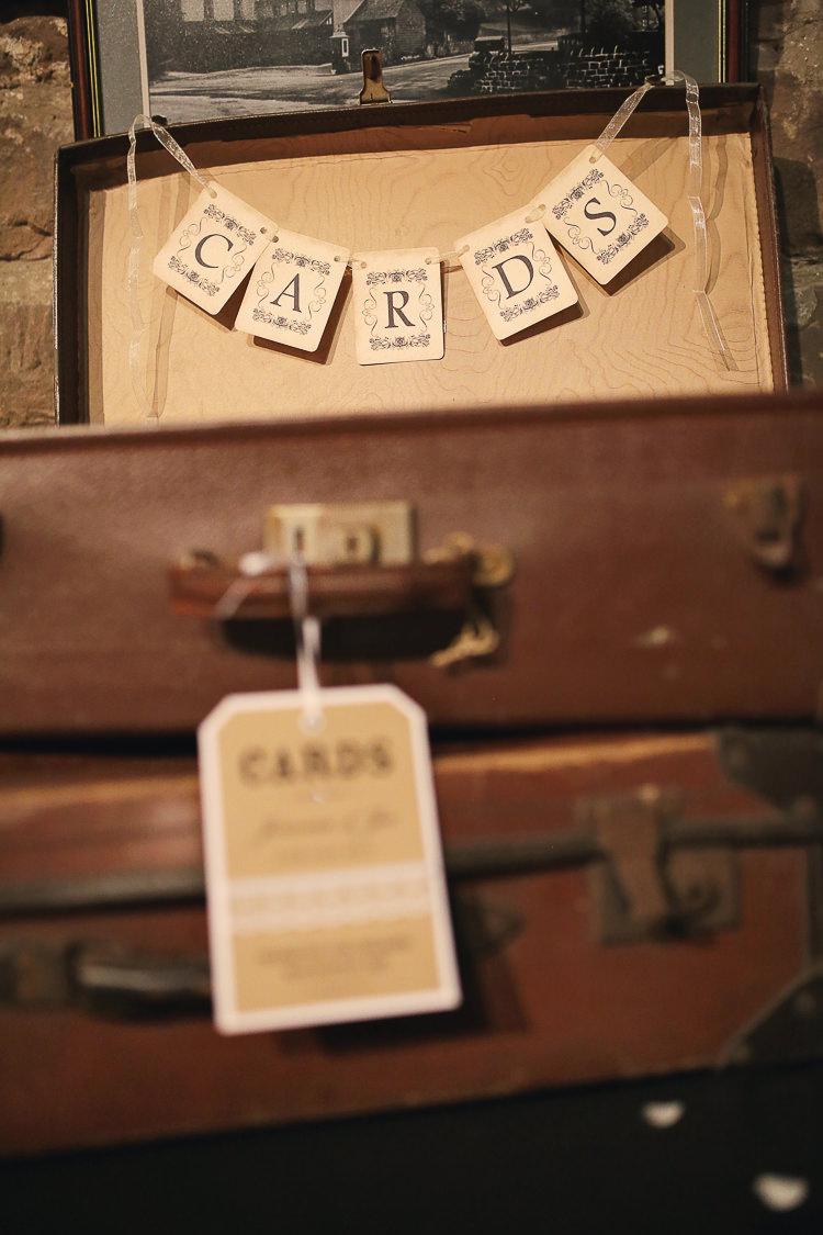 Card Suitcase Stylish Pastel Rustic Barn Wedding http://helenrussellphotography.co.uk/