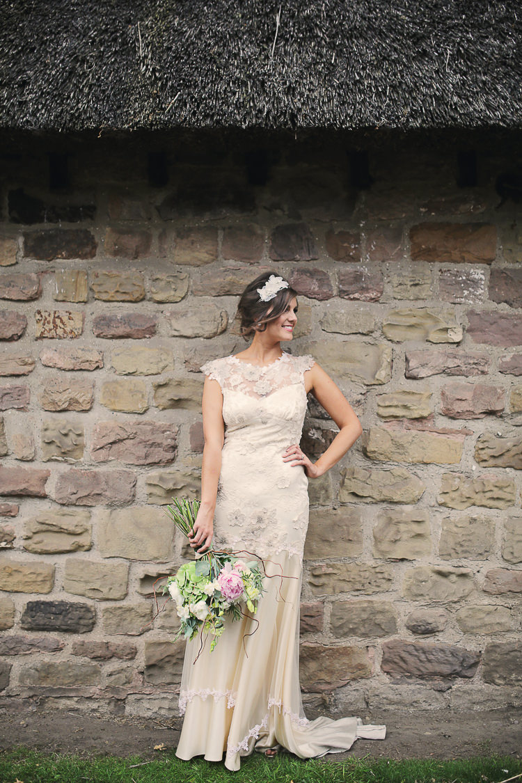 Viola by Claire Pettibone Bride Bridal Dress Gown Stylish Pastel Rustic Barn Wedding http://helenrussellphotography.co.uk/
