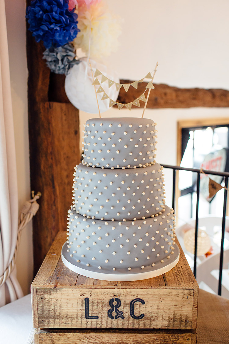 Polka Dot Cake Grey White Bunting Crate Home Made Rustic Eclectic Wedding http://www.frecklephotography.co.uk/