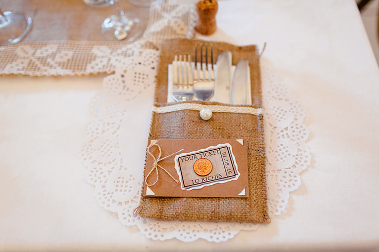 Hessian Cutlery Pouch Home Made Rustic Eclectic Wedding http://www.frecklephotography.co.uk/
