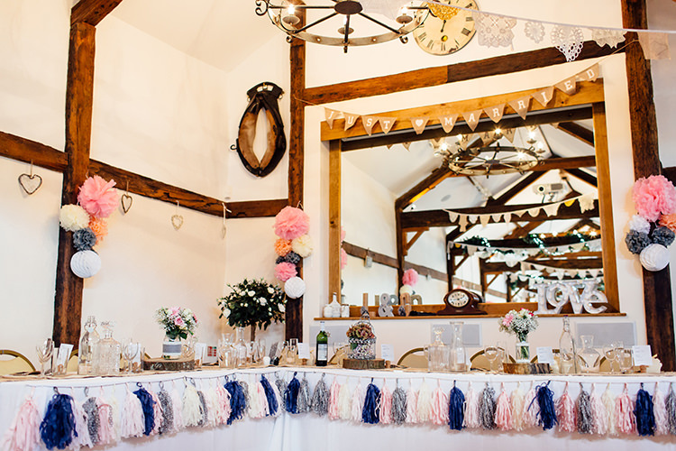 Tassel Garland Top Table Home Made Rustic Eclectic Wedding http://www.frecklephotography.co.uk/