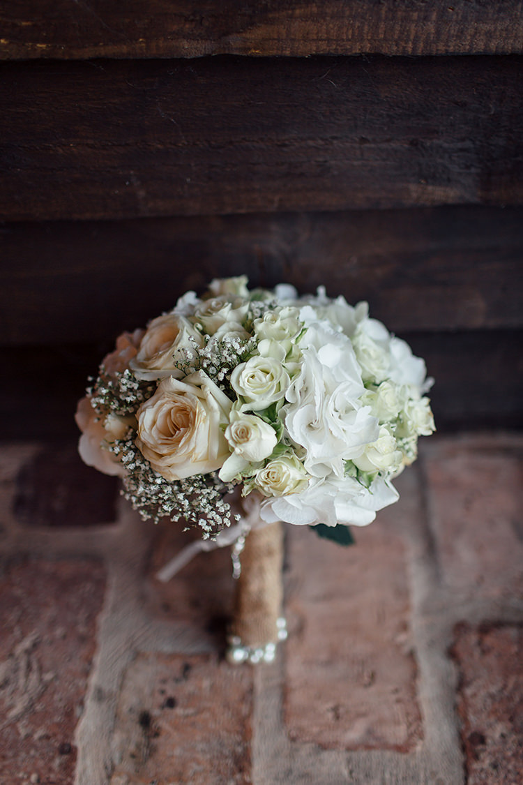White Bouquet Bride Bridal Flowers Roses Home Made Rustic Eclectic Wedding http://www.frecklephotography.co.uk/