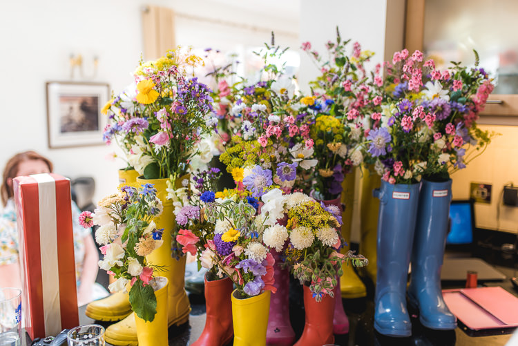 Welly Wellies Flowers Wild Mismatched Farm Tipi Wedding http://www.andrewkeher.co.uk/