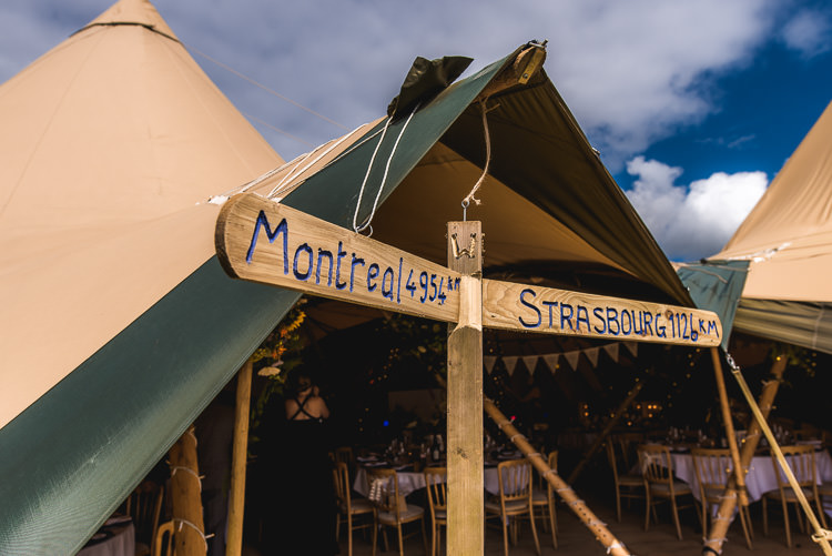 Rustic Wooden Sign Post Mismatched Farm Tipi Wedding http://www.andrewkeher.co.uk/