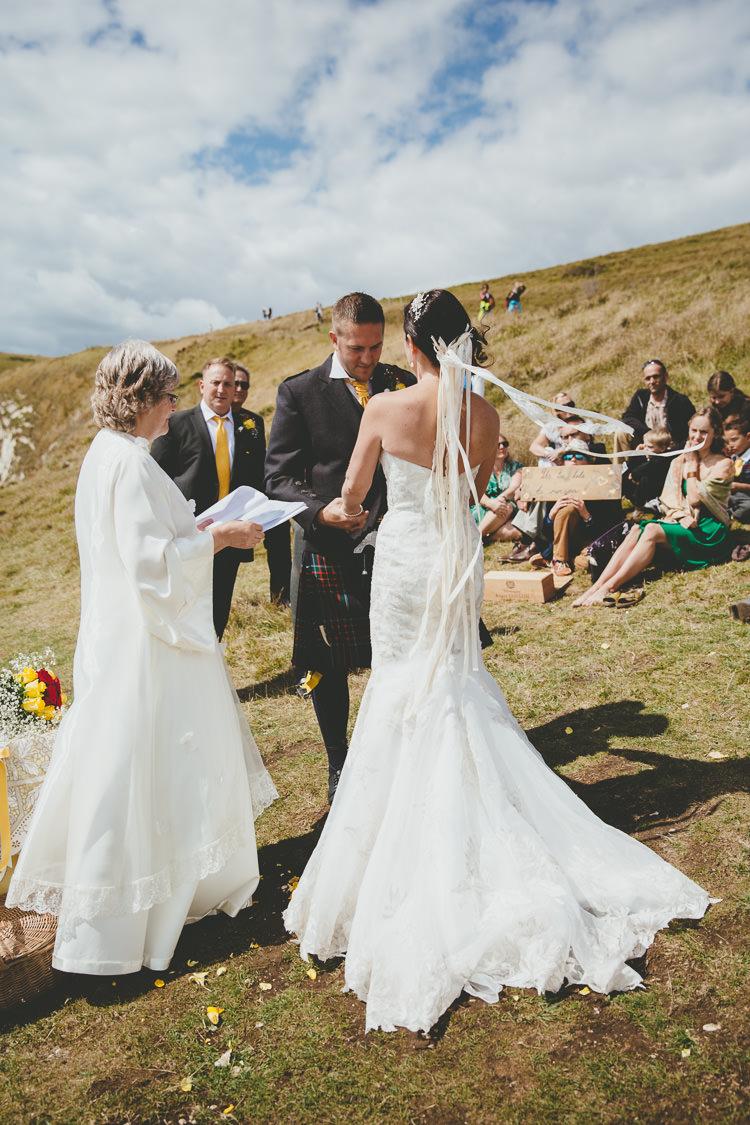 Ribbon Veil Bride Bridal Accessory Durdle Door Cliff Wedding http://www.paulunderhill.com/