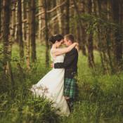 Cornflower Blue & Jade Green Scottish Woodland Village Hall Wedding