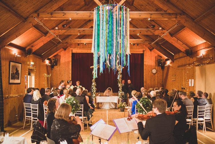 Ribbon Chandelier Cornflower Blue Jade Green Scottish Wedding http://www.mattpenberthy.com/