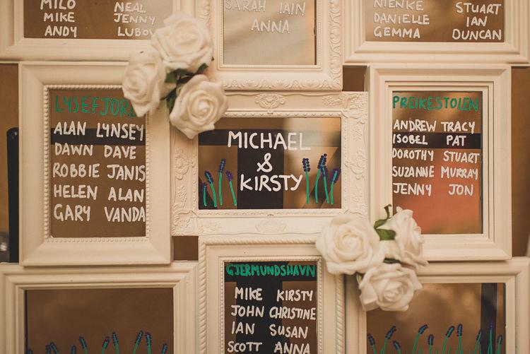 Mirror Seating Frame Table Chart Plan Cornflower Blue Jade Green Scottish Wedding http://www.mattpenberthy.com/