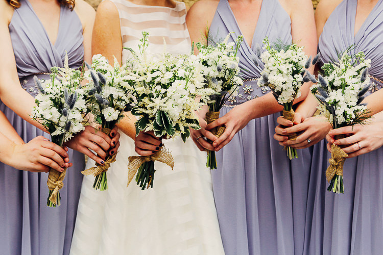 White Bridesmaid Bouquets Rustic Treehouse Wedding http://helenrussellphotography.co.uk/