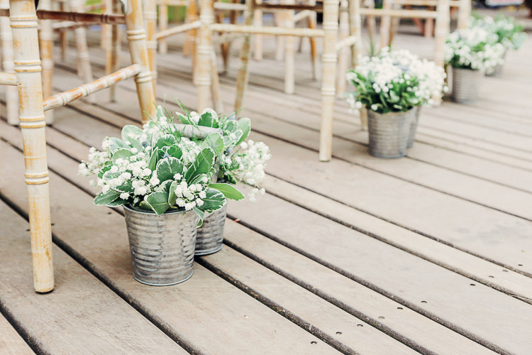 Silver Bucket Flowers Aisle Ceremony Chairs Rustic Treehouse Wedding http://helenrussellphotography.co.uk/