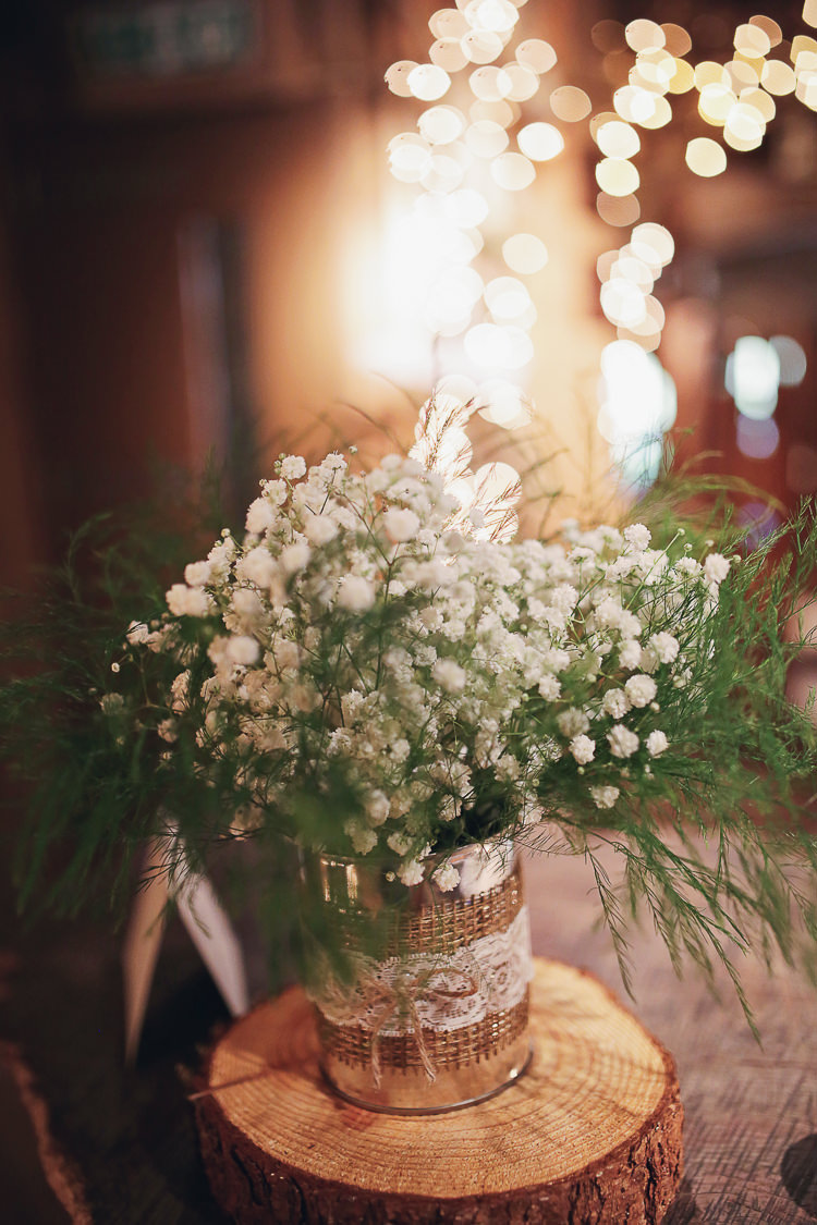 Gypsophila Jars Hessian Lace Twine Flowers Log Centrepiece Rustic Treehouse Wedding http://helenrussellphotography.co.uk/