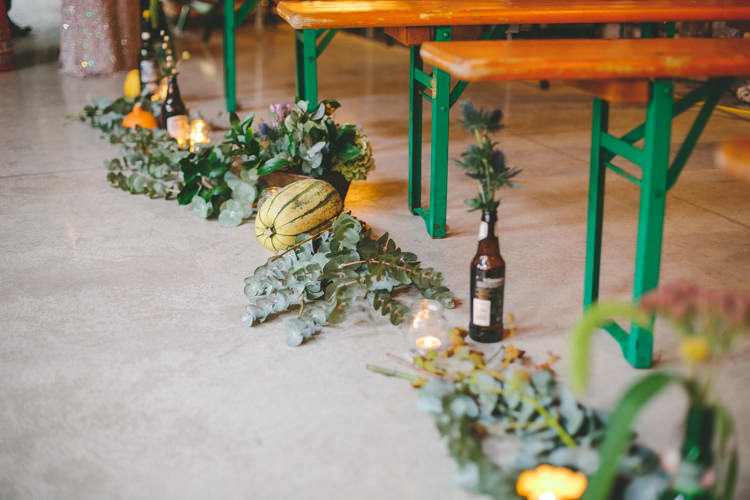 Aisle Flowers Vegetables Candles Industrial Indie Autumn City Wedding http://www.elliegracephotography.co.uk/
