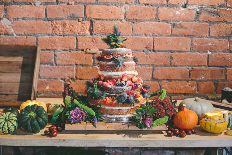 Naked Cake Sponge Layer Fruit Industrial Indie Autumn City Wedding http://www.elliegracephotography.co.uk/