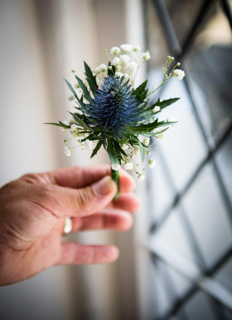 Thistle Buttonhole Colourful DIY Village Fete Wedding http://jamesgristphotography.co.uk/blog/