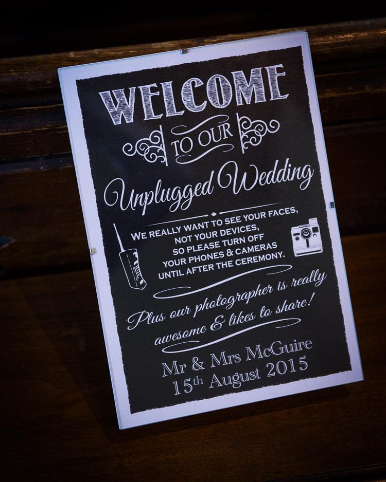 Un Plugged Sign Black Board Colourful DIY Village Fete Wedding http://jamesgristphotography.co.uk/blog/