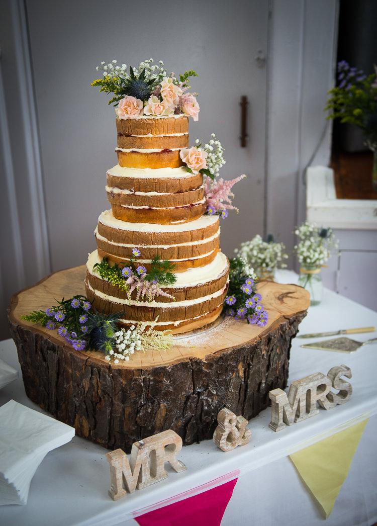 Naked Cake Sponge Log Stand Colourful DIY Village Fete Wedding http://jamesgristphotography.co.uk/blog/