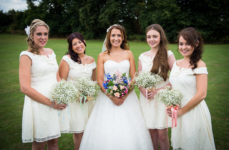 Short White Bridesmaid Dresses Colourful DIY Village Fete Wedding http://jamesgristphotography.co.uk/blog/
