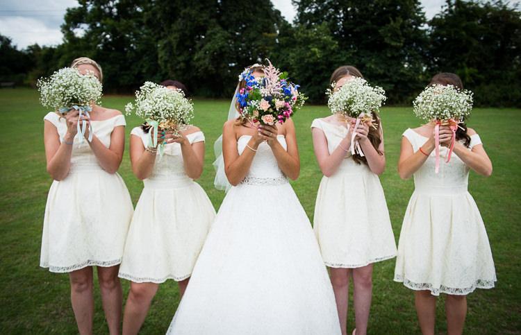 Gypsophila Bouquets Bridesmaids Ribbon Colourful DIY Village Fete Wedding http://jamesgristphotography.co.uk/blog/