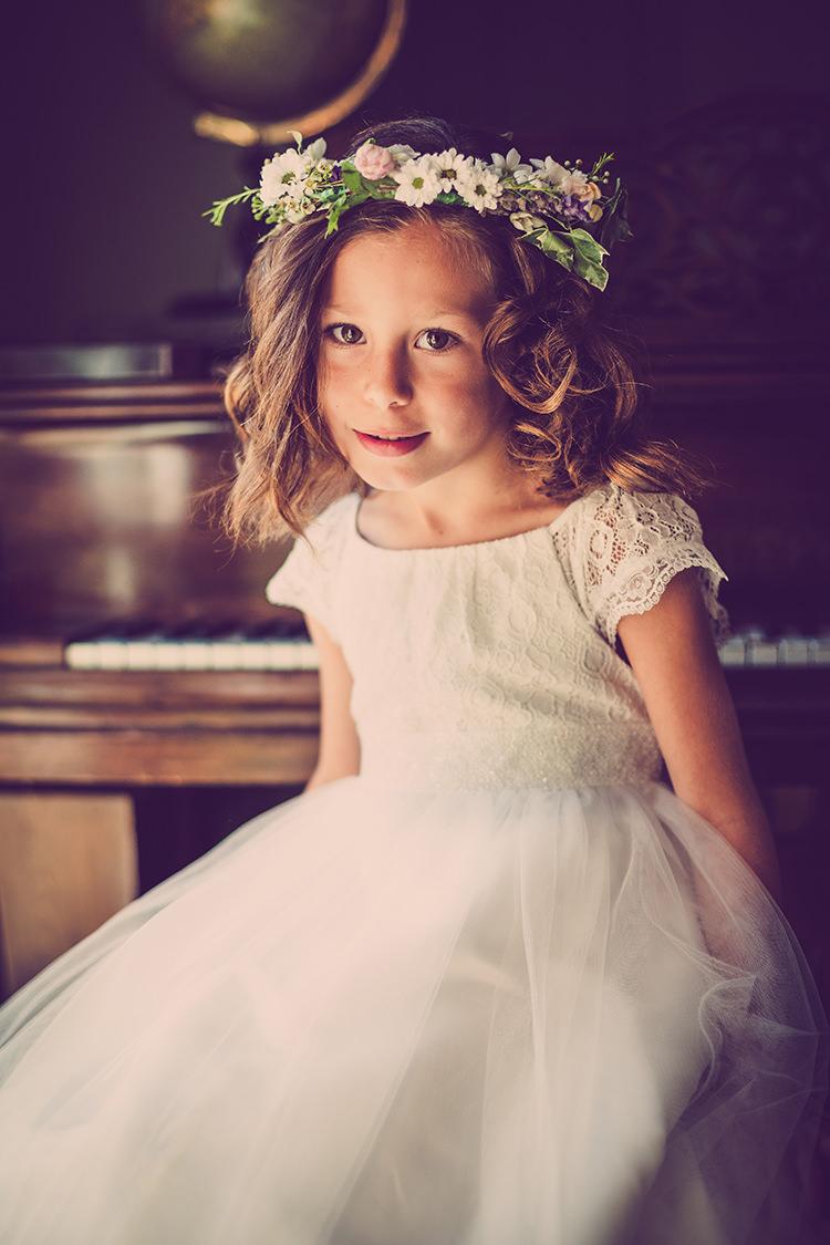 Flower Girl Crown Dress White Glastonbury Festival Garden Party Wedding http://www.tommyreynoldsweddings.co.uk/