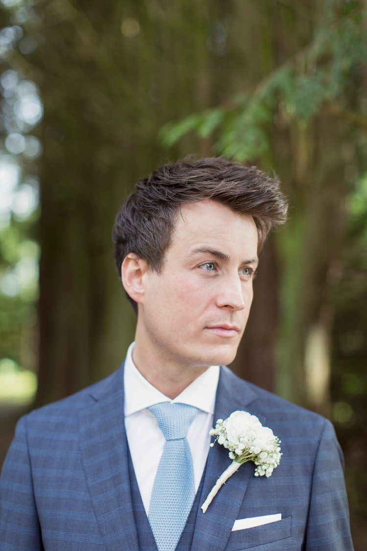 Blue Check Suit Knitted Tie Groom Romantic Metallic Blush Wedding http://www.craigsandersphotography.co.uk/