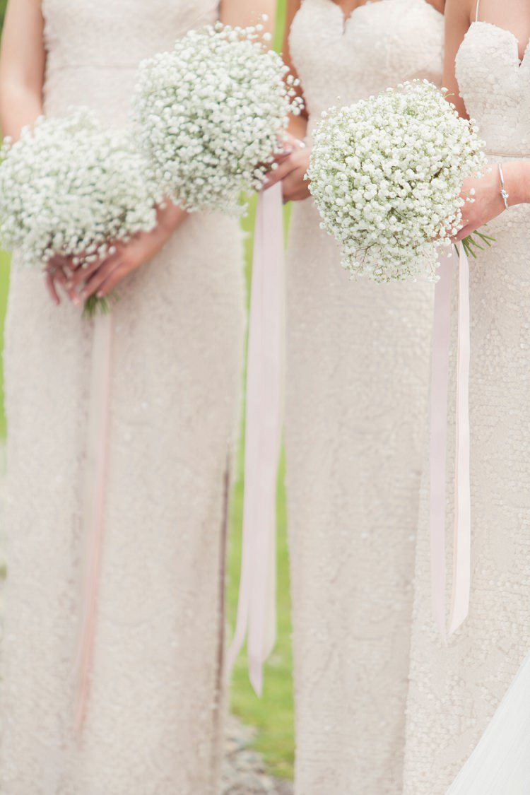 Baby Breath Gyp Gypsophila Bouquets Flowers Ribbons Bridesmaids Romantic Metallic Blush Wedding http://www.craigsandersphotography.co.uk/
