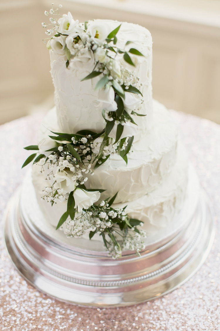 White Buttercream Foliage Cake Romantic Metallic Blush Wedding http://www.craigsandersphotography.co.uk/