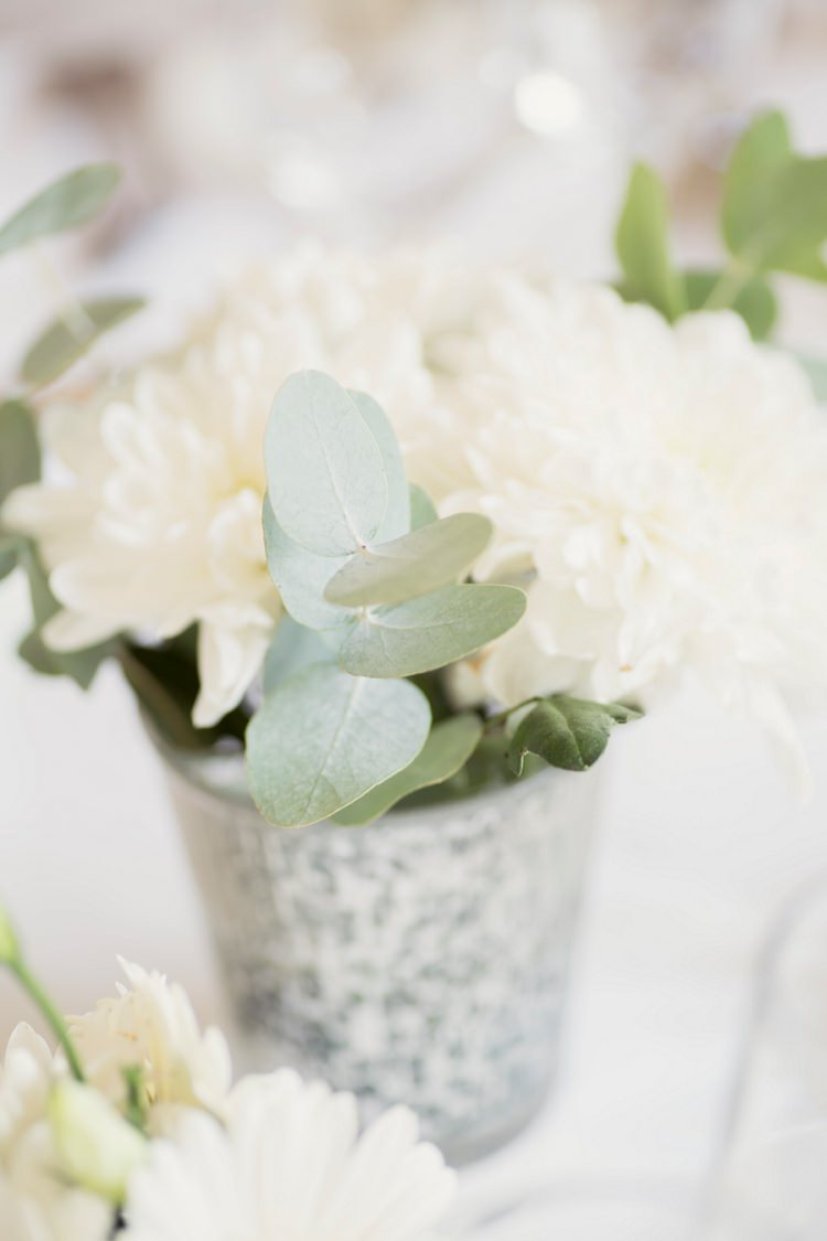 White Bucket Votive Flowers Dahlia Romantic Metallic Blush Wedding http://www.craigsandersphotography.co.uk/