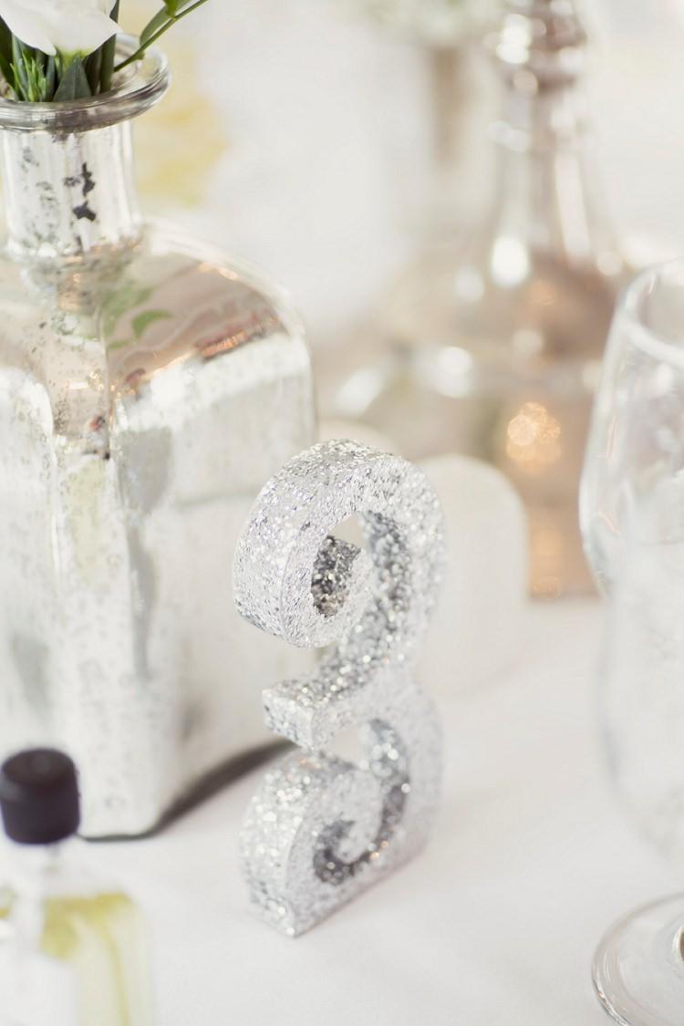 Glitter Silver Table Number Romantic Metallic Blush Wedding http://www.craigsandersphotography.co.uk/