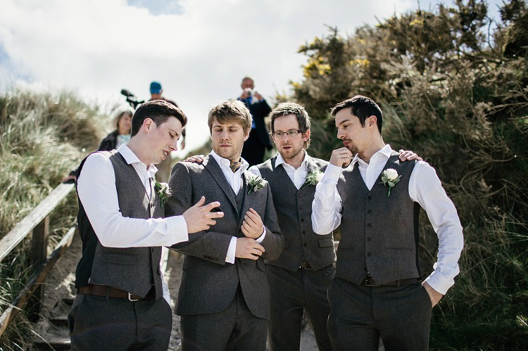 Groomsmen Tweed Waistcoats Scottish Beach Wedding http://www.kat-hill.com/