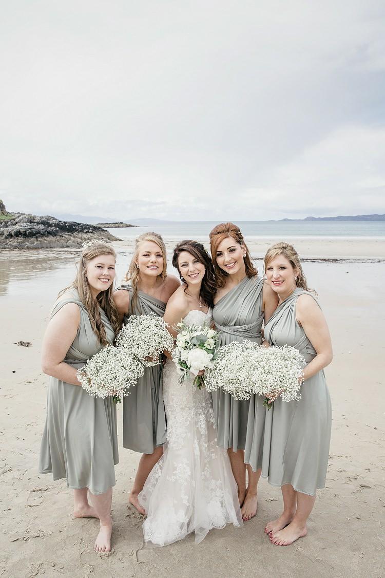 Grey Multiway Bridesmaid Dresses Short Gypsophila Baby Breath Scottish Beach Wedding http://www.kat-hill.com/