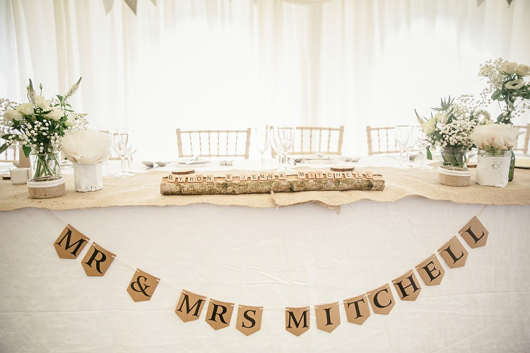 Personalised Bunting Top Table Scottish Beach Wedding http://www.kat-hill.com/