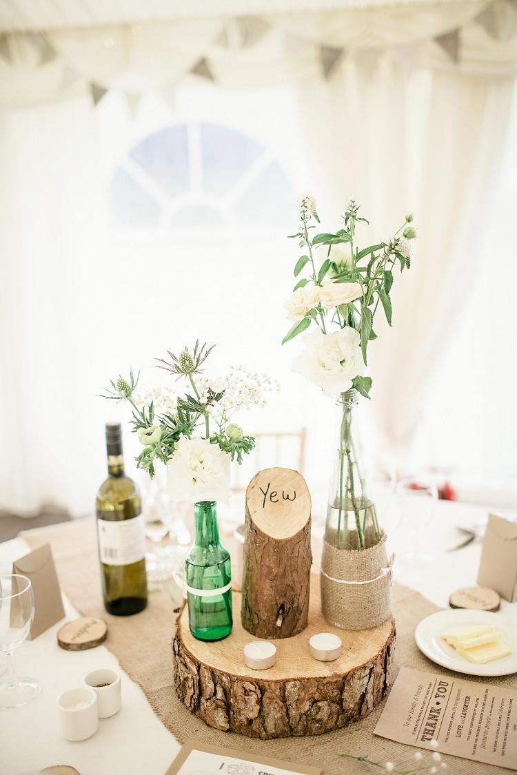 Log Hessian Twine Jar Flowers Centrepiece Scottish Beach Wedding http://www.kat-hill.com/