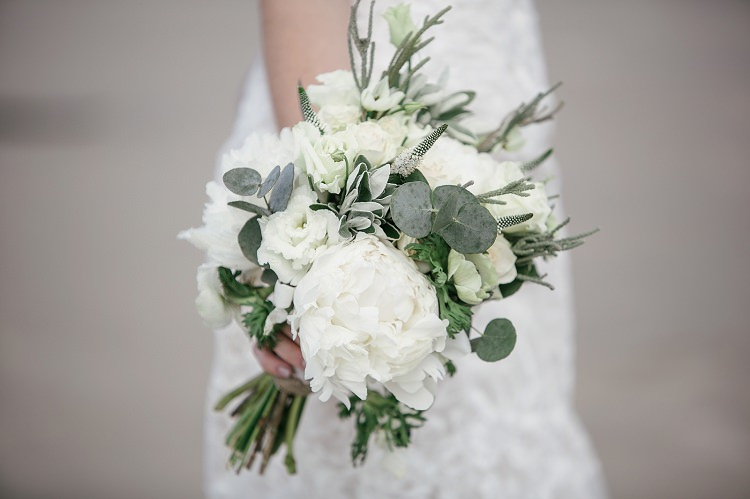 White Peony Bouquet Bride Bridal Flowers Scottish Beach Wedding http://www.kat-hill.com/