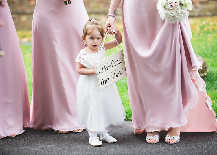 Here Comes The Bride Sign Flower Girl Pale Pink & Lace Farm Wedding http://hbaphotography.com/