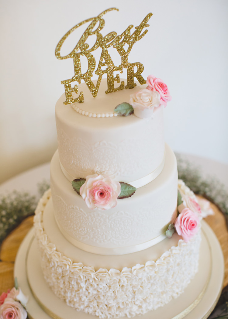 Cake White Gold Glitter Topper Pale Pink & Lace Farm Wedding http://hbaphotography.com/