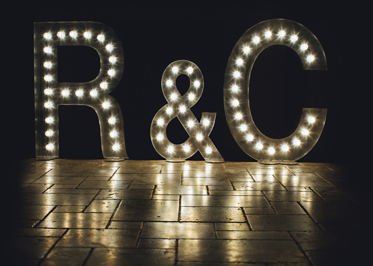 Letter Lights Pale Pink & Lace Farm Wedding http://hbaphotography.com/
