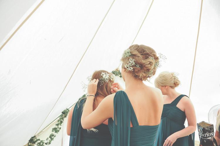 Gypsophila Hair Bridesmaids Style Quirky Natural Woodland Wedding http://lisahowardphotography.co.uk/